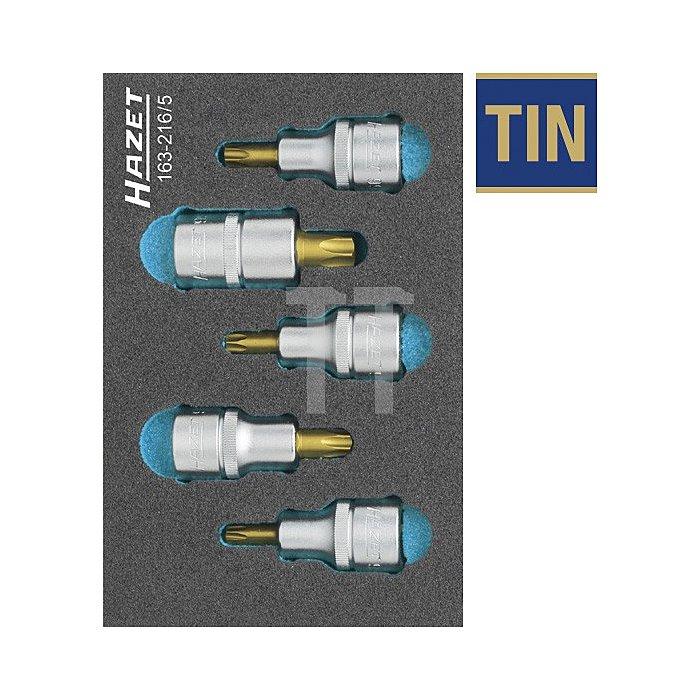 Hazet TORX® Schraubendreher-Steckschlüsseleinsatz-Satz 5-tlg. 163-216/5