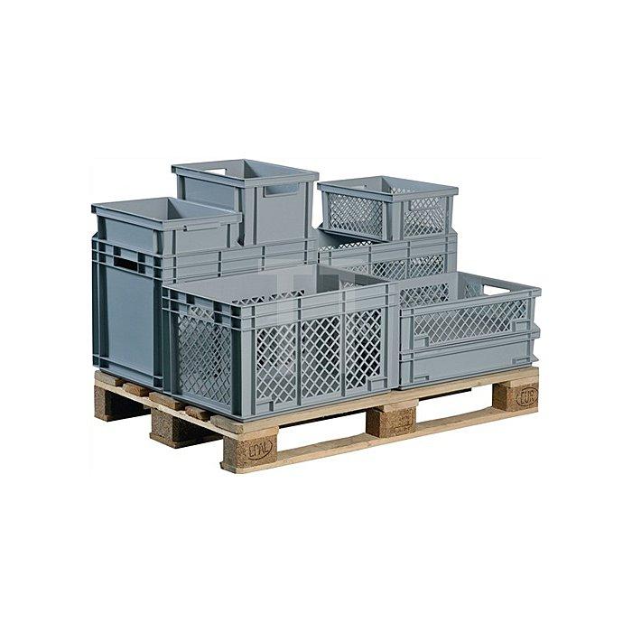 Transportstapelbehälter 34l PP grau Seitenwände durchbrochen Durchfassgriff
