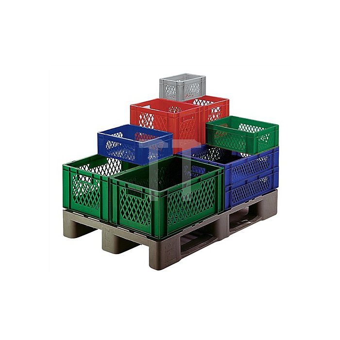 Transportstapelbehälter L600xB400xH270mm PP blau Wände durchbrochen