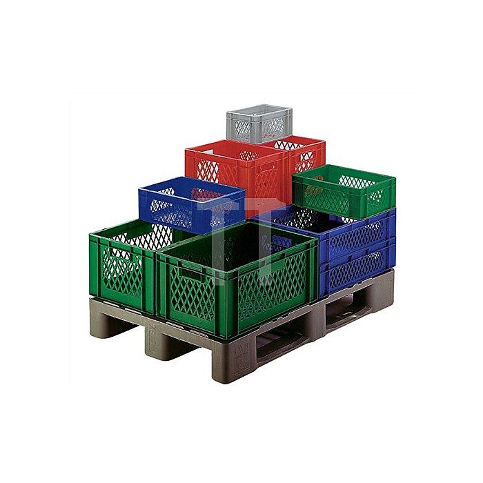 Transportstapelbehälter L600xB400xH270mm PP rot Wände durchbrochen