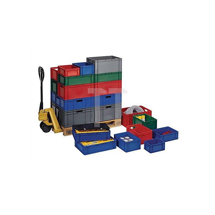 Transportstapelkasten PP grau L600xB400xH75mm Wände/Boden geschlossen