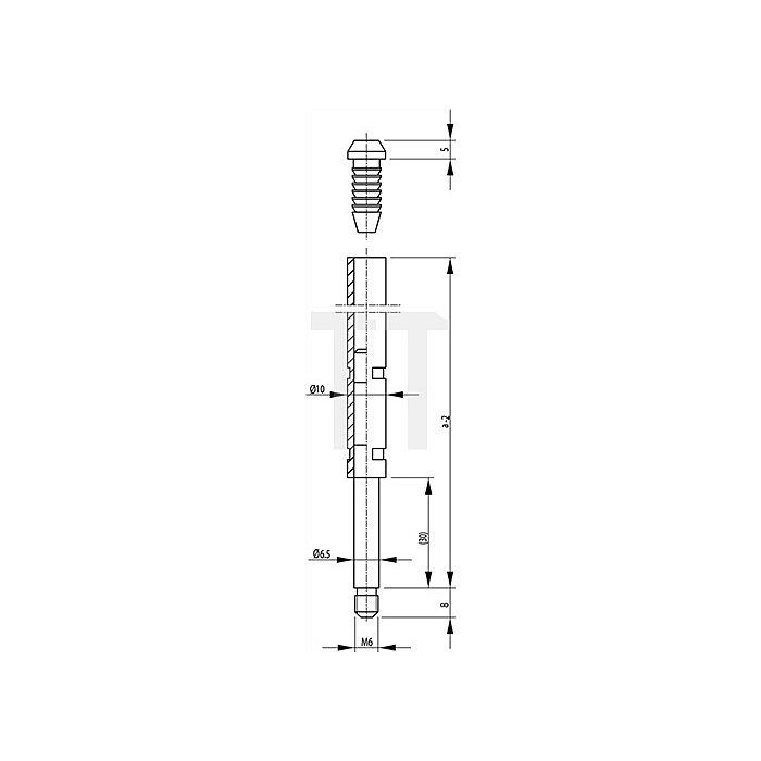 Treibriegelstange 9006 Länge 450mm Rohr mit Gleitstopfen