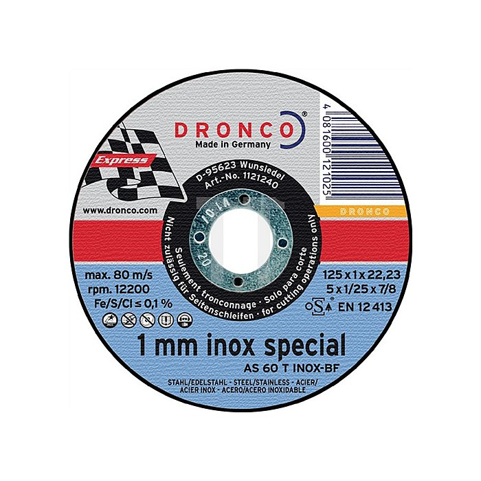 Trennscheibe AS60TINOX 125x1,0x22,23mm gerade 10er Dose