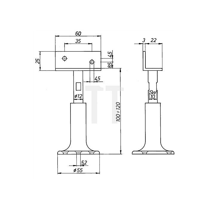 Trennwandstütze höhenverstellbar von 100-120mm Alu. F1 naturfarbig