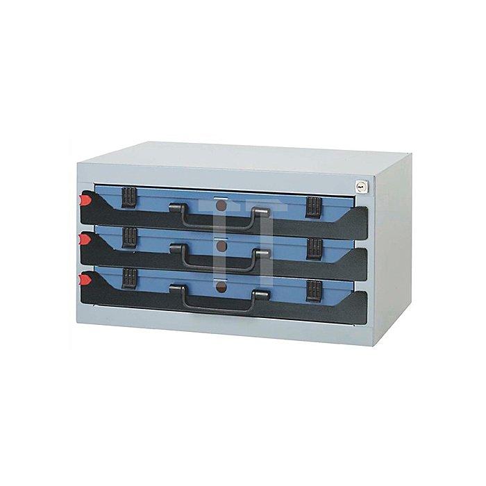 Tresor 3F stapelbar 555x350x290mm f.Sortimentskasten DINZL m.Schaumstoff