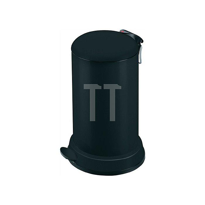 Tretabfallsammler 16l Stahlblech, schwarz H.515xD.320mm mit verz. Inneneimer