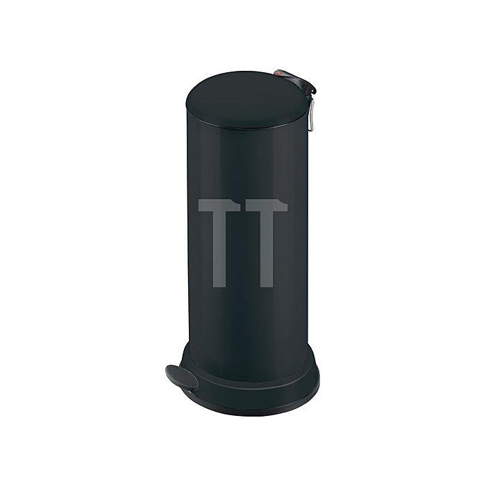 Tretabfallsammler 26l Stahlblech, schwarz H.715xD.320mm mit verz. Inneneimer