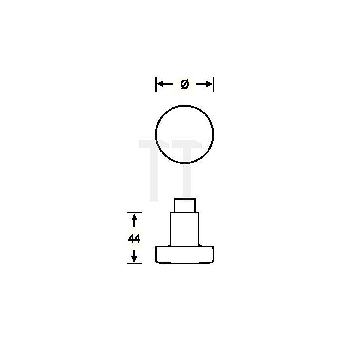 Tür-Knopf 0829 Knopf fest auf Rosette Aufnahme 8mm VA matt ER 6204