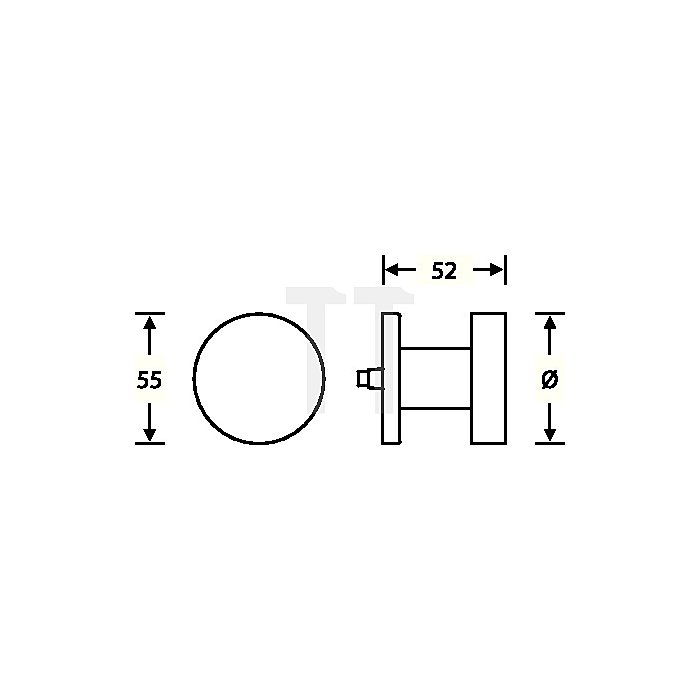 Tür-Knopf 0829 Knopf fest auf Rosette Aufnahme M12 VA matt ER 6204