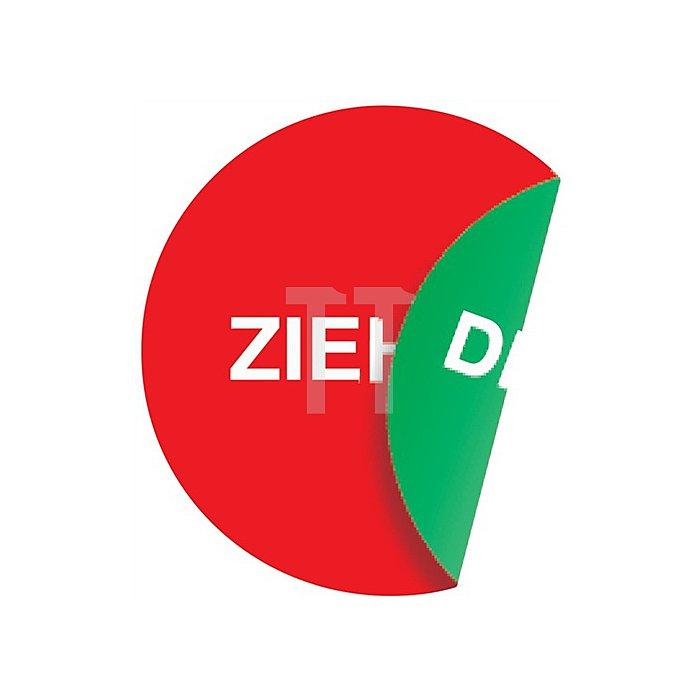 Türaufkleber Ziehen/Drücken 2seitig D.100mm rot/grün Folie selbstklebend