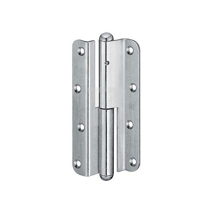 Türband QF1 DIN li.Band-L.140mm Oberfläche verzinkt für gefälzte Türen