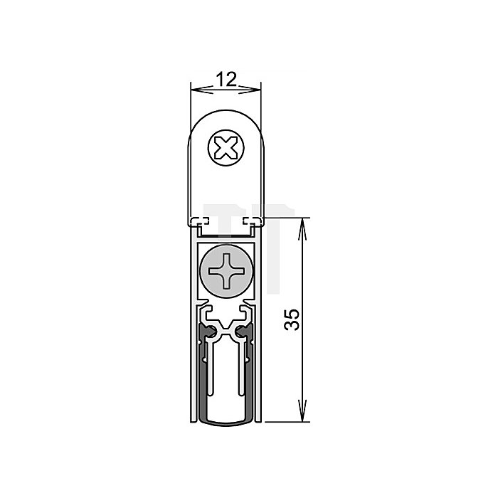 Türdichtung Doppeldicht M12/35 Nr. 1-392 Auslösung 1-seitig Länge 958mm Alu.