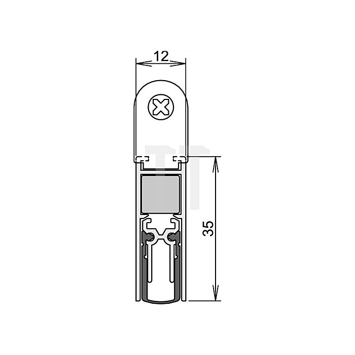 Türdichtung Doppeldicht M12/35 Nr.1-393 Auslösung 2-seitig L.833mm Alu.