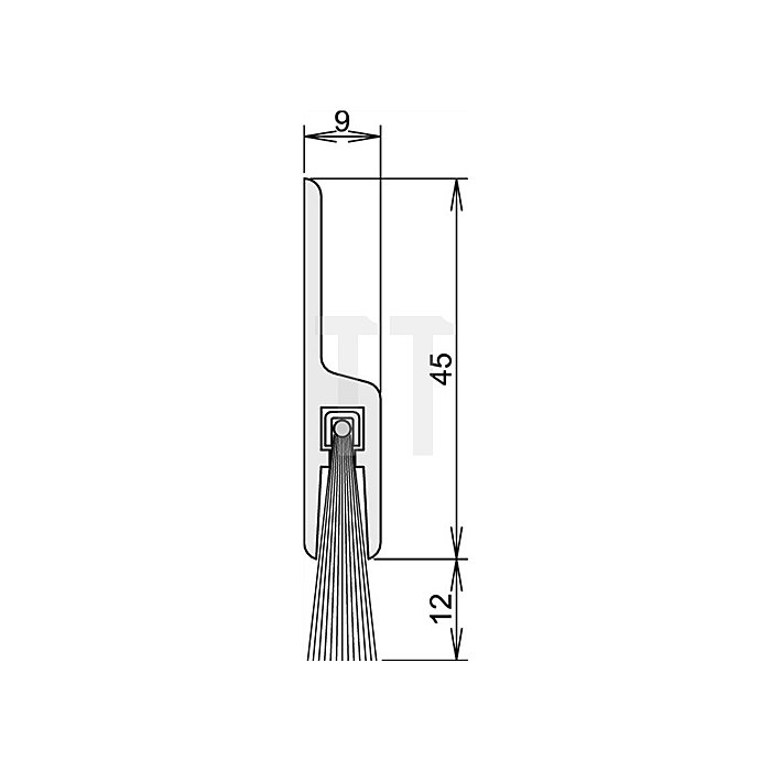 Türdichtung Glasdicht SK Nr.4-158-012 Länge 958mm Besatzhöhe 12mm