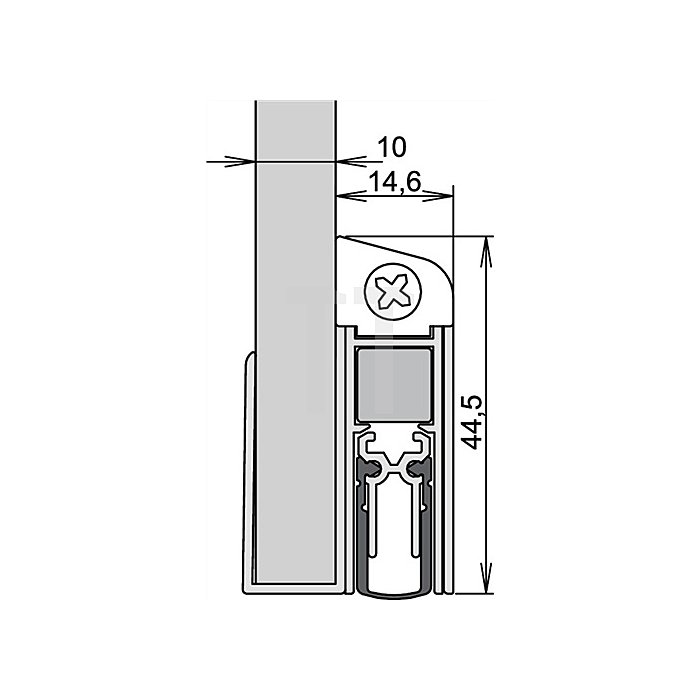 Türdichtung Schall Ex DUO GS-10 Nr.1-593 Auslösung 2-seitig L.833mm silberf.