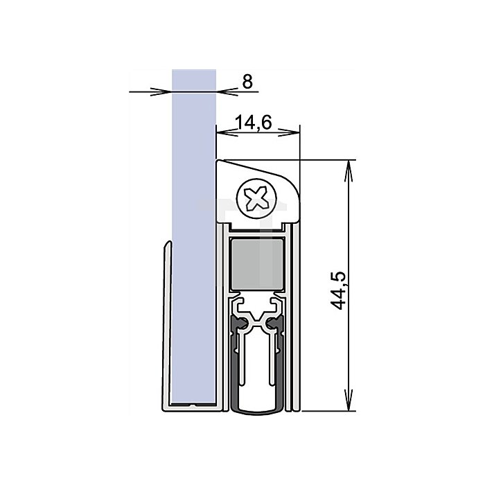 Türdichtung Schall Ex DUO GS/8 Nr.1-408 L.1083mm Auslösung 2-seitig silberf.