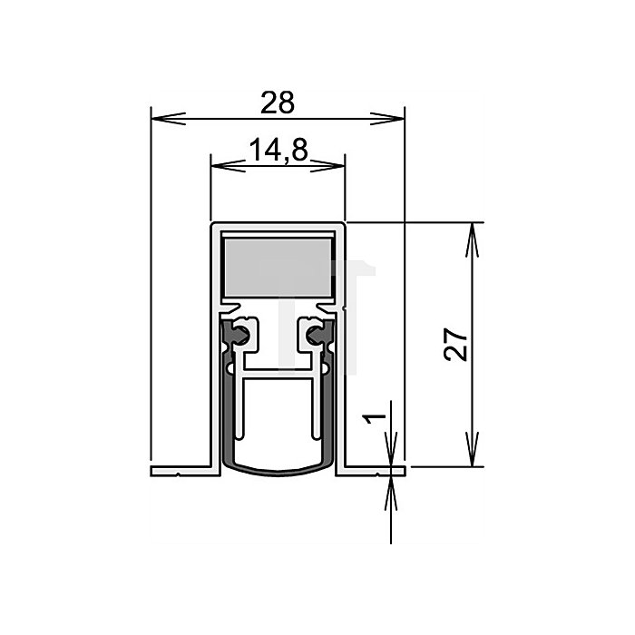 Türdichtung Schall-Ex DUO L-15/28 OS Nr.1-404 Auslösung 2-seitig L.1208mm Alu.