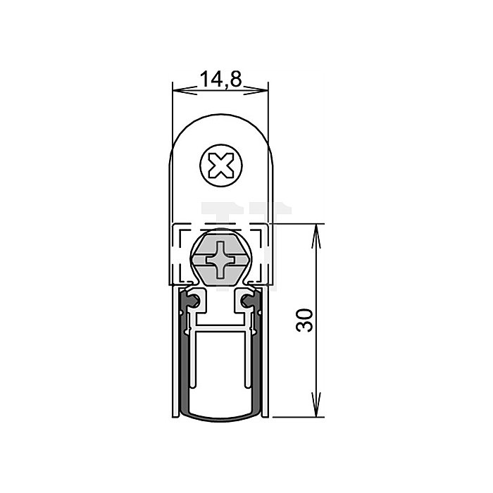 Türdichtung Schall-Ex L-15/30 WS Nr.1-360 Auslösung 1-seitig L.958mm Alu.