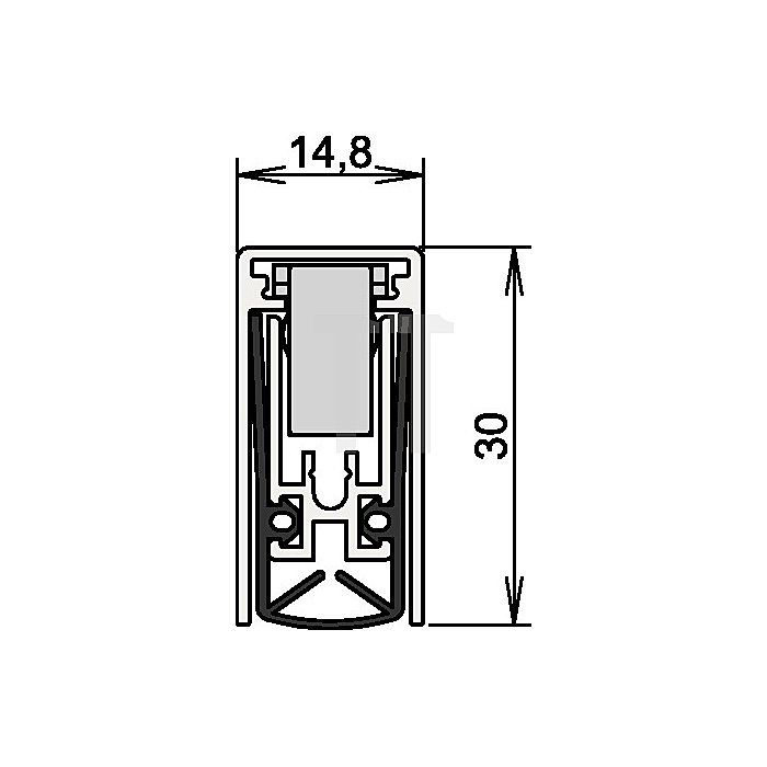 Türdichtung Schall-Ex L-15/30 WS Nr.1-880 Auslösung 1-seitig L.960mm Alu.