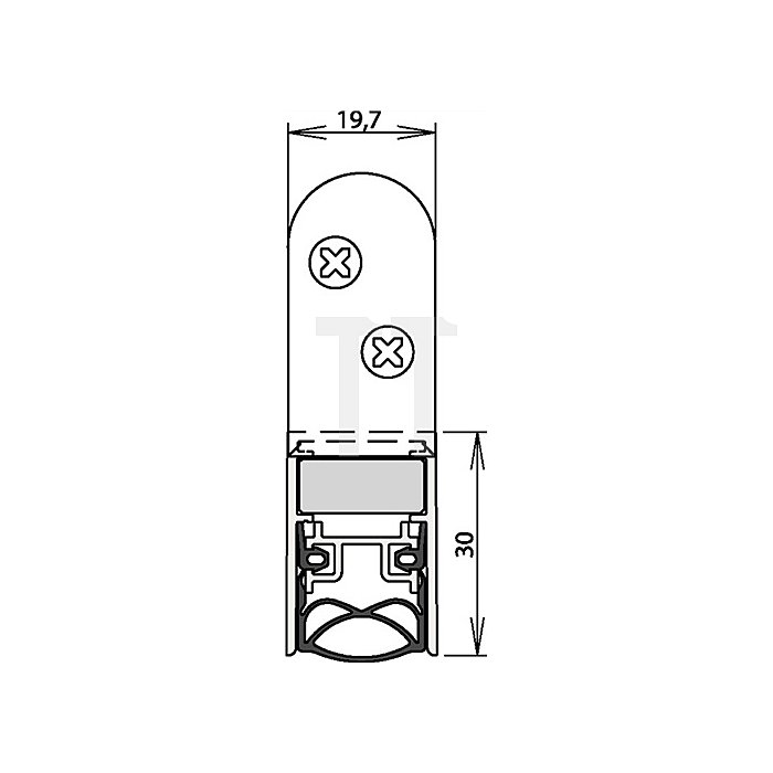 Türdichtung Schall-Ex Ultra WS Nr.1-290 Auslösung 2-seitig L.958mm Alu.