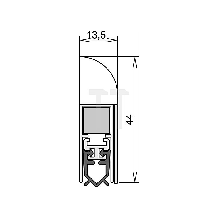 Türdichtung Wind-Ex Nr.1-310 Auslösung 1-seitig L.985mm silberfarben elox.