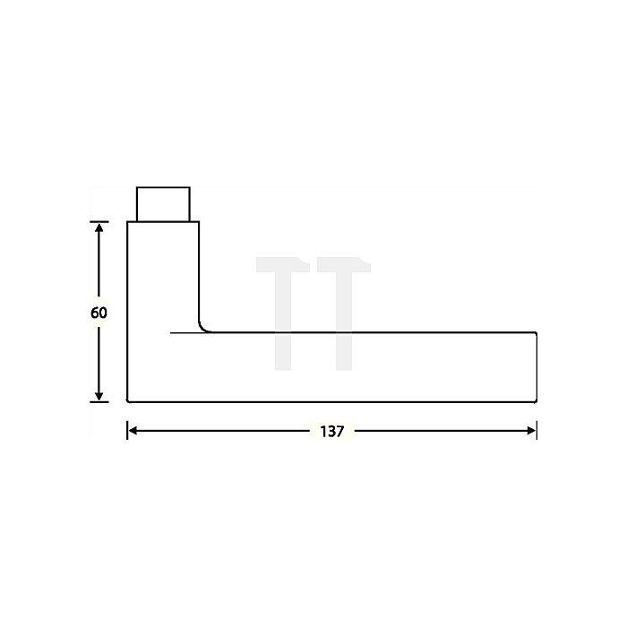 Türdrücker 1021 Lochteil Edelstahl matt ER 6204 Vierkant 8mm
