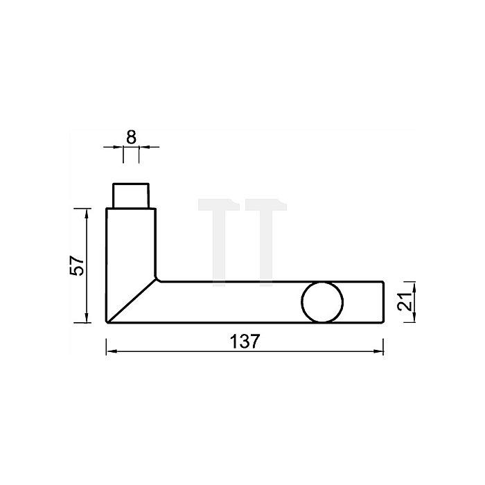 Türdrücker 1076 Lochteil Vierkant 8mm Aluminium F1 naturfarbig
