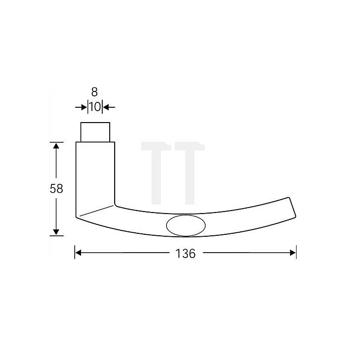 Türdrücker 1107 Lochteil Vierkant 8mm Aluminium F1 naturfarbig