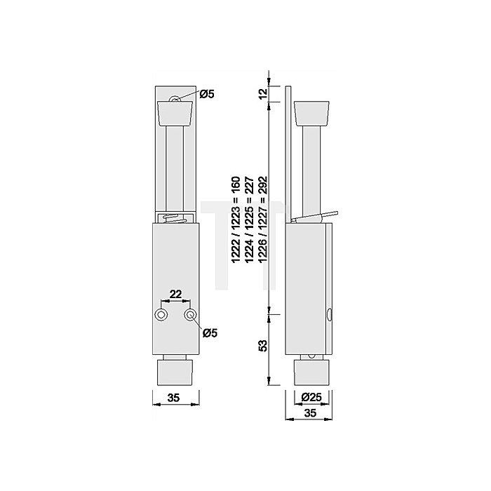 Türfeststeller KWS 1226.02 120mm Hub Alu.silberfarbig einbrennlack.