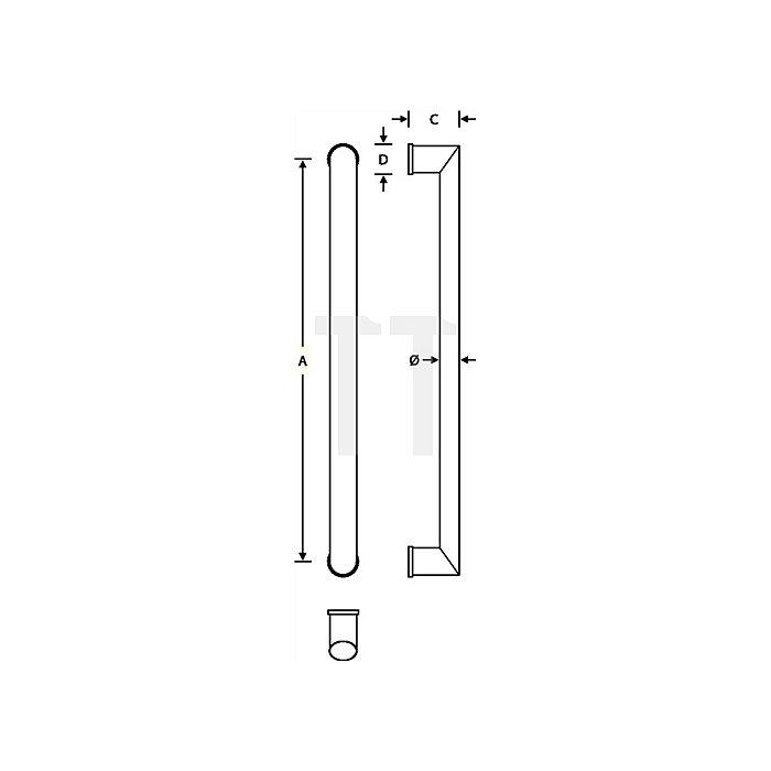 Türgriff 6542 Befestigungsabstand 600mm VA feinmatt 6204 D.40x28,5mm