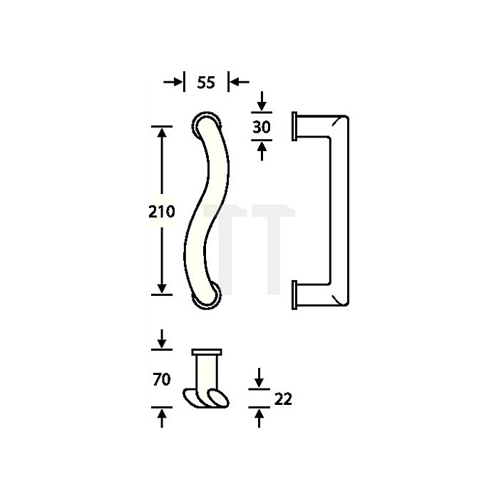 Türgriff 6611 DIN links VA feinmatt 6204 Befestigungsabstand 210mm