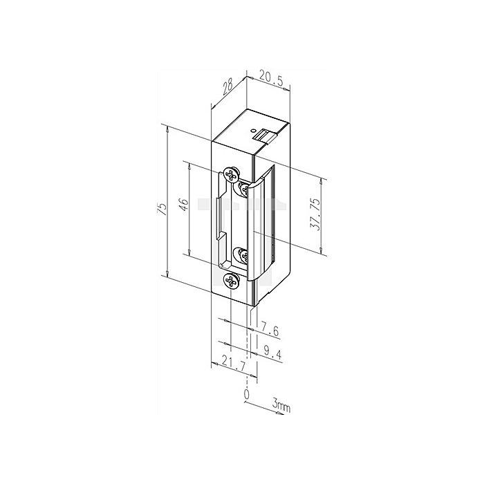Türöffner 17 E B. 20,5mm H. 75mm T. 28mm Zink-Druckguss o. Schließblech