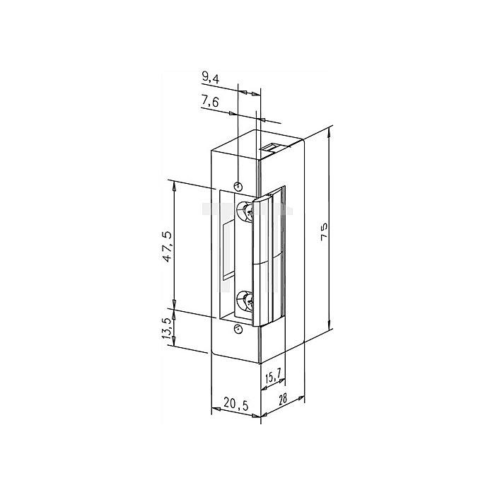 Türöffner 17 E KL DIN L/R Flachschließblech B.24mm L.110mm Edelstahl