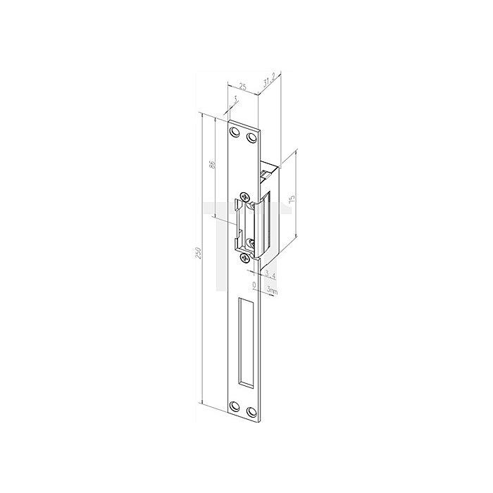 Türöffner 18 E HZ Din L/R Flachschließblech B.25mm L.250mm Edelstahl