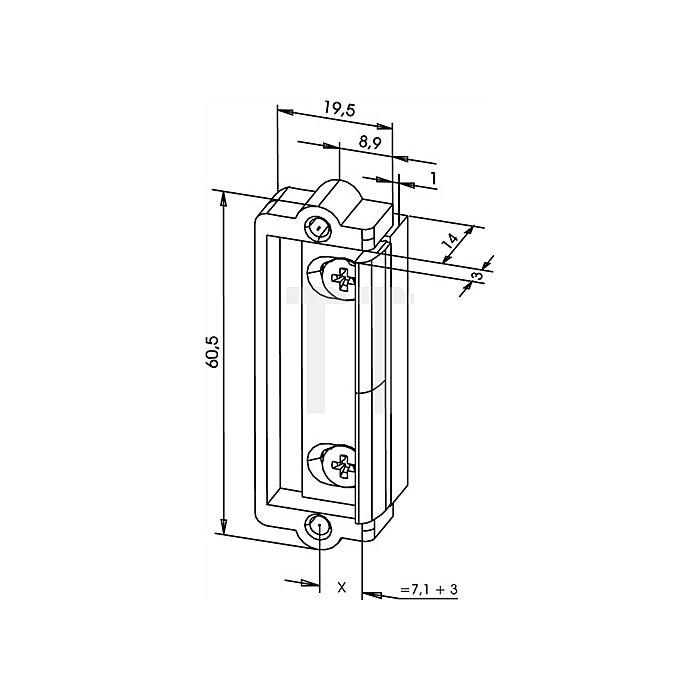 Türöffner-Austauschstück 1410 Fafix ohne Schließblech starres Einbauteil