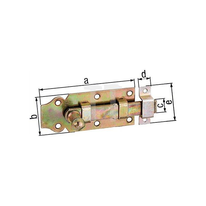 Türriegel 140x52x20x16x55mm Stahl roh galv. gelb verz.
