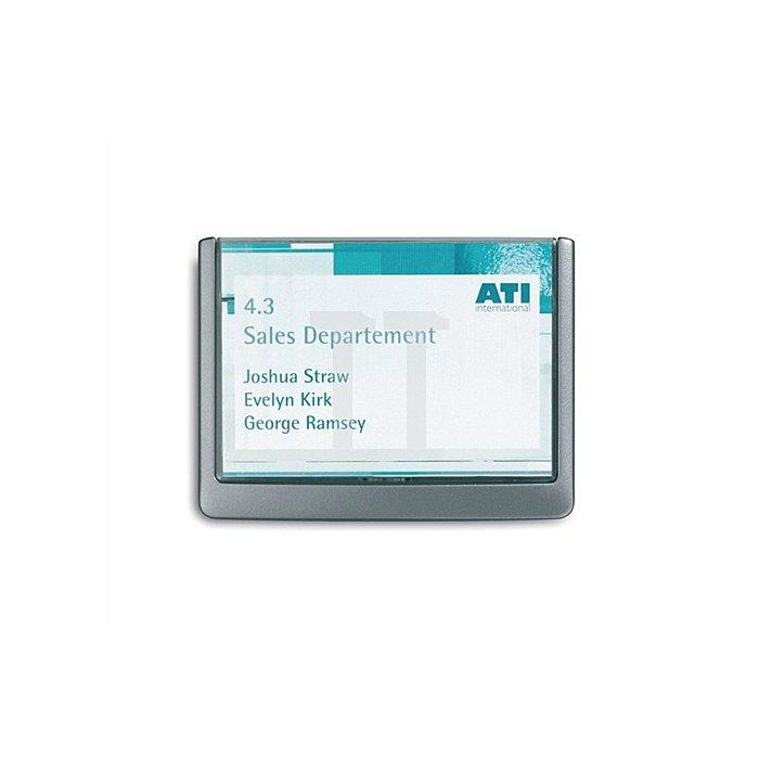 Türschild ABS B.149xH.105,5mm Sichtfenster Acryl Rücken graphit