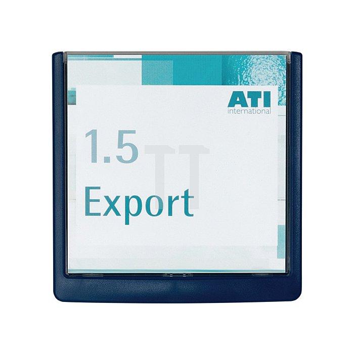 Türschild ABS B.149xH.148,5mm Sichtfenster Acryl Rücken blau