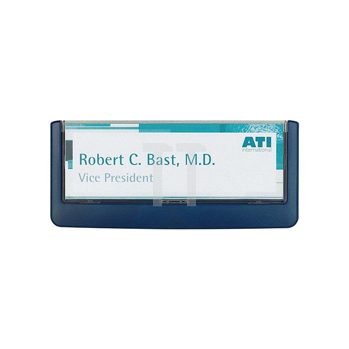 Türschild ABS B.149xH.52,5mm Sichtfenster Acryl Rücken blau