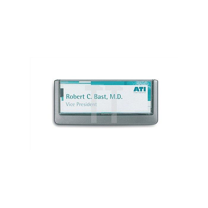 Türschild ABS B.149xH.52,5mm Sichtfenster Acryl Rücken graphit