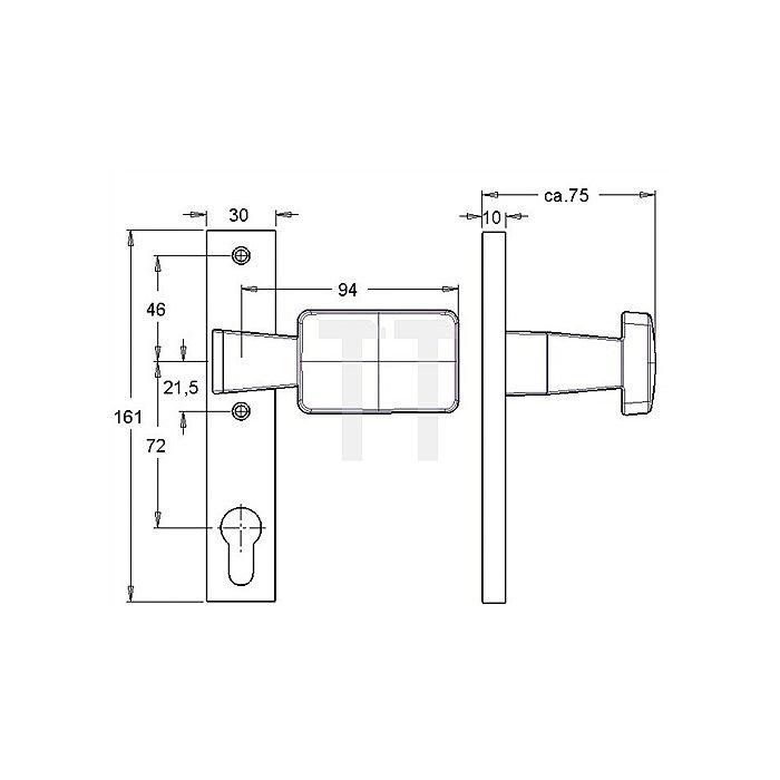 Türschilder Knopfschild f.Schlosskästen fest/drehbar H.161mm B.30mm Alu F1