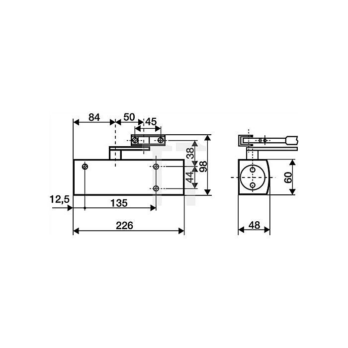 Türschließer TS 2000 V Größe 2/4/5 max.1250mm Breite silber