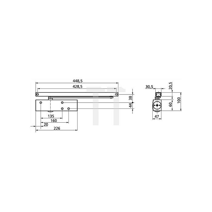Türschließer TS 3000 V Größe 1-4 silber ohne Gleitschiene