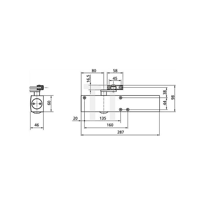 Türschließer TS 4000 Größenbereich 5-7 silber