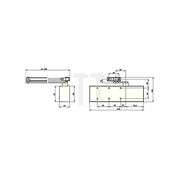Türschließer TS 72 EN Gr.2-4 silber max. Flügel-B.1100mm