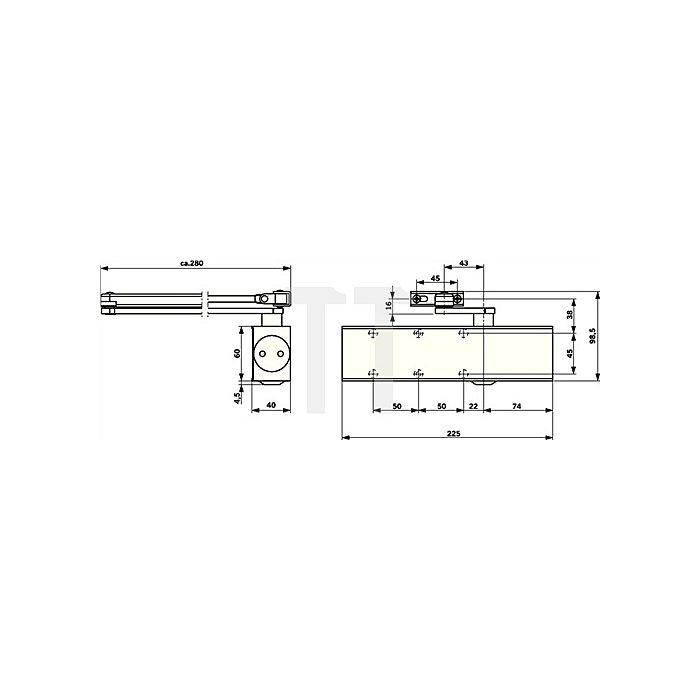 Türschließer TS 73V Flügelbreite max 1100mm Größe EN 2-4 silber ohne Gestänge