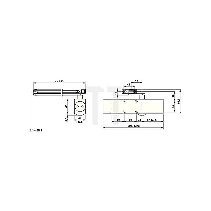 Türschließer TS 83 Flügelbreite max 1400mm Größe EN 3-6 weiss ohne Gestänge