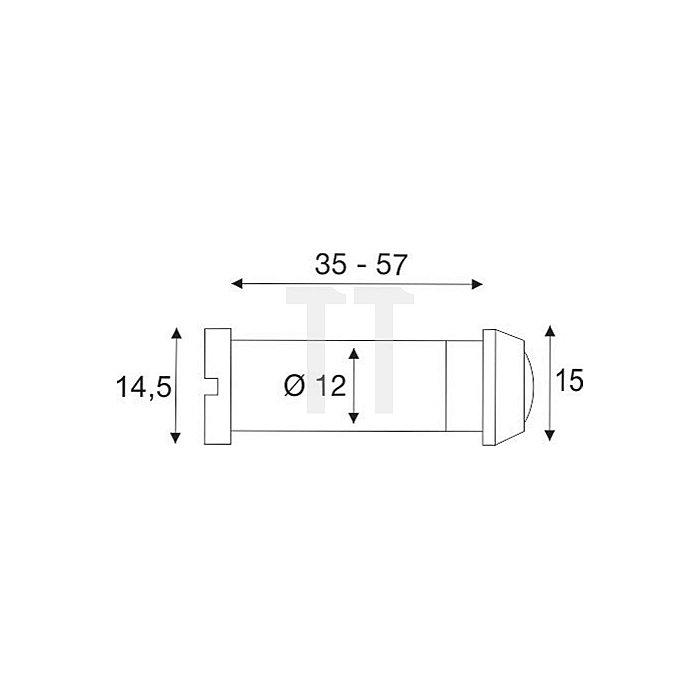 Türspion Blickfeld 160 Grad Kunststofflinse Messing verchromt f. Ts 35-60mm