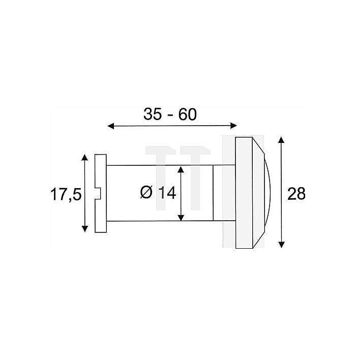 Türspion Blickfeld 200 Grad Kunststofflinse Ms. Chrom f. Türstärken 35-60mm
