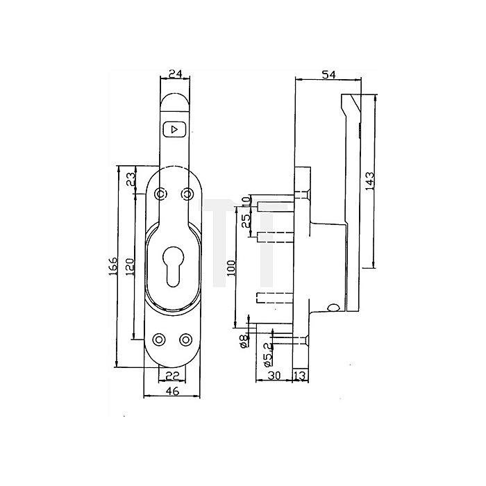 Türtreibriegel Vario LM silber elox.f.10mm Rundstange